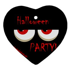 Halloween party - red eyes monster Ornament (Heart)