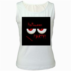 Halloween party - red eyes monster Women s White Tank Top