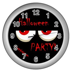 Halloween party - red eyes monster Wall Clocks (Silver)
