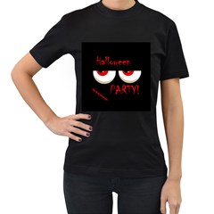 Halloween party - red eyes monster Women s T-Shirt (Black) (Two Sided)