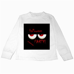 Halloween party - red eyes monster Kids Long Sleeve T-Shirts