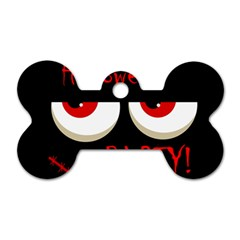 Halloween party - red eyes monster Dog Tag Bone (Two Sides)