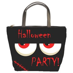 Halloween party - red eyes monster Bucket Bags