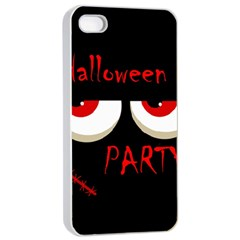 Halloween party - red eyes monster Apple iPhone 4/4s Seamless Case (White)