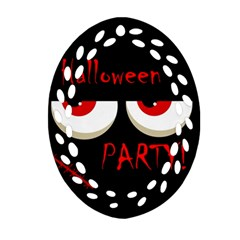 Halloween party - red eyes monster Oval Filigree Ornament (2-Side)