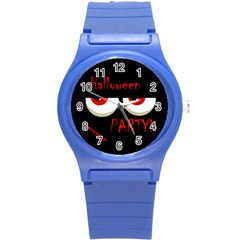 Halloween party - red eyes monster Round Plastic Sport Watch (S)