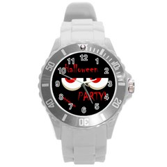 Halloween party - red eyes monster Round Plastic Sport Watch (L)