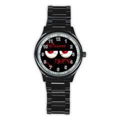 Halloween party - red eyes monster Stainless Steel Round Watch