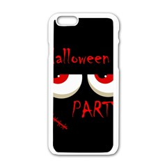 Halloween party - red eyes monster Apple iPhone 6/6S White Enamel Case