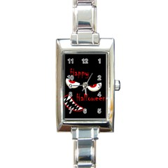 Happy Halloween - red eyes monster Rectangle Italian Charm Watch