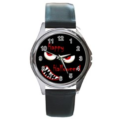 Happy Halloween - red eyes monster Round Metal Watch