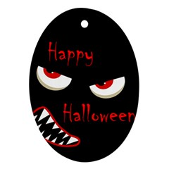 Happy Halloween - red eyes monster Ornament (Oval)