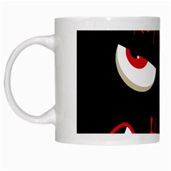 Happy Halloween - red eyes monster White Mugs