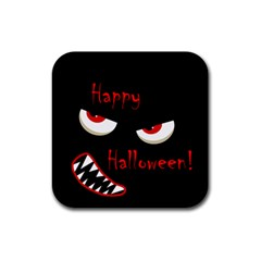 Happy Halloween - red eyes monster Rubber Square Coaster (4 pack)