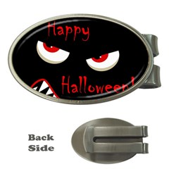 Happy Halloween - red eyes monster Money Clips (Oval)