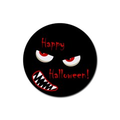 Happy Halloween - red eyes monster Rubber Round Coaster (4 pack)