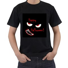 Happy Halloween - red eyes monster Men s T-Shirt (Black) (Two Sided)
