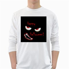 Happy Halloween - red eyes monster White Long Sleeve T-Shirts