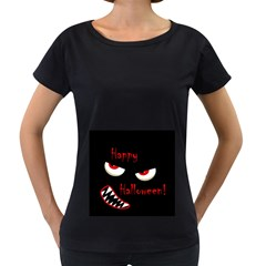 Happy Halloween - red eyes monster Women s Loose-Fit T-Shirt (Black)