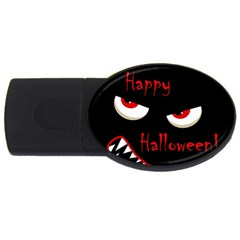 Happy Halloween - red eyes monster USB Flash Drive Oval (4 GB)