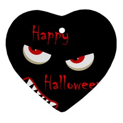 Happy Halloween - red eyes monster Heart Ornament (2 Sides)