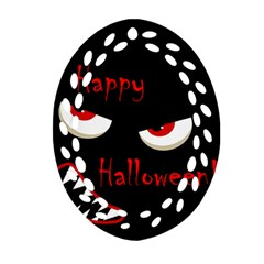 Happy Halloween - red eyes monster Oval Filigree Ornament (2-Side)