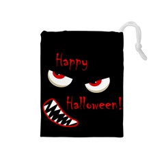 Happy Halloween - red eyes monster Drawstring Pouches (Medium)