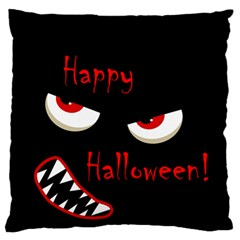 Happy Halloween - red eyes monster Large Flano Cushion Case (Two Sides)