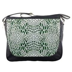 Green Reptile Scales Messenger Bags