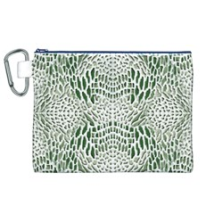 Green Reptile Scales Canvas Cosmetic Bag (xl)