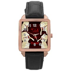 Halloween mummy Rose Gold Leather Watch