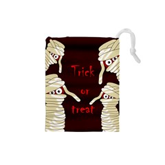 Halloween mummy Drawstring Pouches (Small)