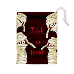 Halloween mummy Drawstring Pouches (Large)