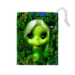 Fracta Doll In City Arp Drawstring Pouch (large)