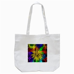 Abstract Circle Wave Squares Tote Bag (White)