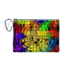 Abstract Circle Wave Squares Canvas Cosmetic Bag (M)