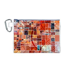 Abstract Squares Arrangement Canvas Cosmetic Bag (M)