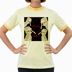 Halloween mummy party Women s Fitted Ringer T-Shirts