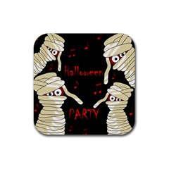 Halloween mummy party Rubber Coaster (Square)