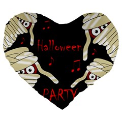 Halloween mummy party Large 19  Premium Heart Shape Cushions