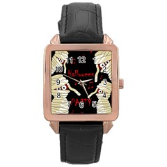 Halloween mummy party Rose Gold Leather Watch