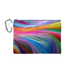 Rainbow Feather Canvas Cosmetic Bag (M)
