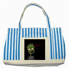 Halloween zombie Striped Blue Tote Bag