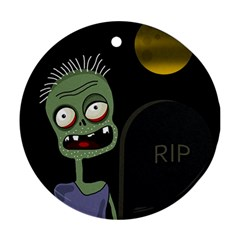 Halloween zombie on the cemetery Ornament (Round)