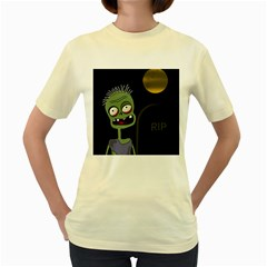 Halloween zombie on the cemetery Women s Yellow T-Shirt