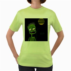 Halloween zombie on the cemetery Women s Green T-Shirt