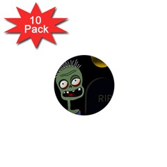 Halloween zombie on the cemetery 1  Mini Buttons (10 pack)