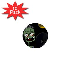 Halloween zombie on the cemetery 1  Mini Magnet (10 pack)