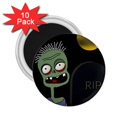 Halloween zombie on the cemetery 2.25  Magnets (10 pack)