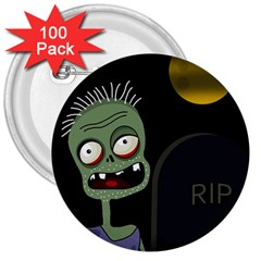 Halloween zombie on the cemetery 3  Buttons (100 pack)